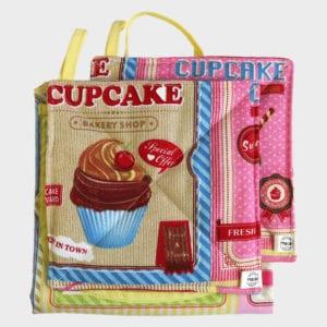 Cupcake schort +pannenlappen A grijs